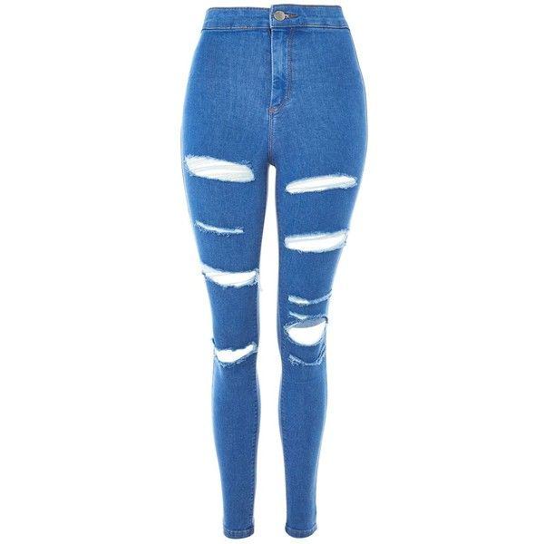 TopShop Moto Deep Blue Super Rip Joni Jeans ($75) ❤ liked on Polyvore featuring jeans, calças, blue, stretch skinny jeans, stretchy skinny jeans, dark blue jeans, destroyed skinny jeans and ripped skinny jeans