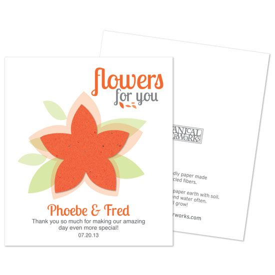 Modern flower plantable seed paper favor. The flower is made from seed paper that will grow wildflowers when planted!