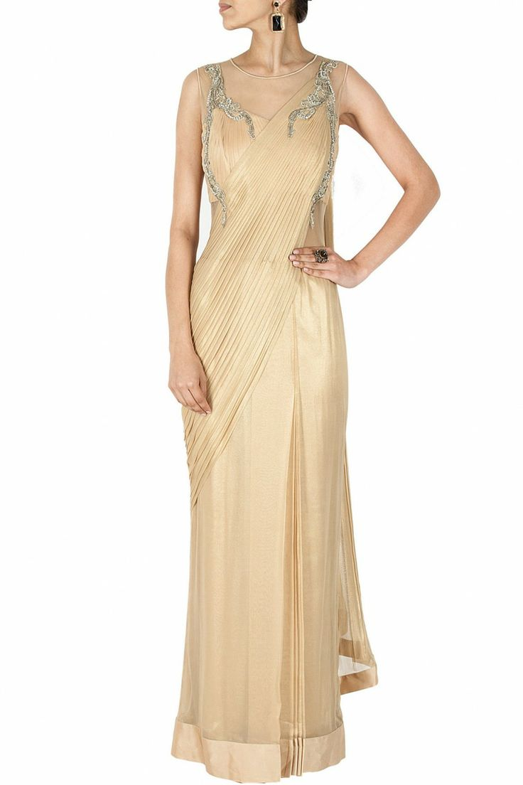 Gold embroidered sari gown BY GAURAV GUPTA. Shop now at perniaspopupshop.com #perniaspopupshop #clothes #womensfashion #love #indiandesigner #gauravgupta #happyshopping #sexy #chic #fabulous #PerniasPopUpShop