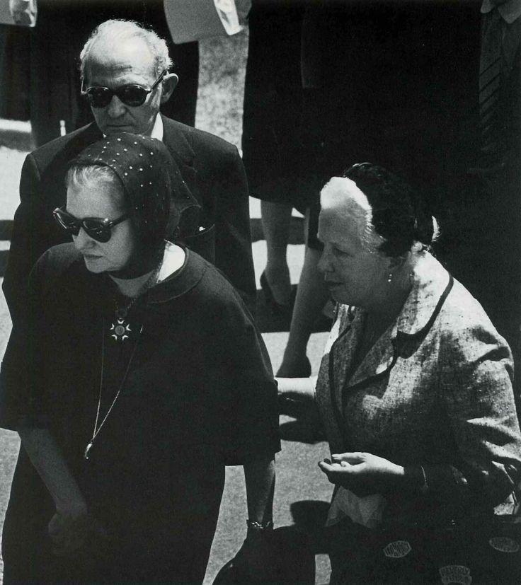 Agnes Flanagan ( Marilyn's personal hairdresser) with Lee and Paula Strasberg at Marilyn Monroe's funeral August 8,1962