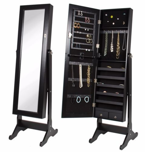 Mirror-Stand-W-Jewelry-Storage-Armoire-And-Organizer-Box-Cabinet-Ring-Necklaces