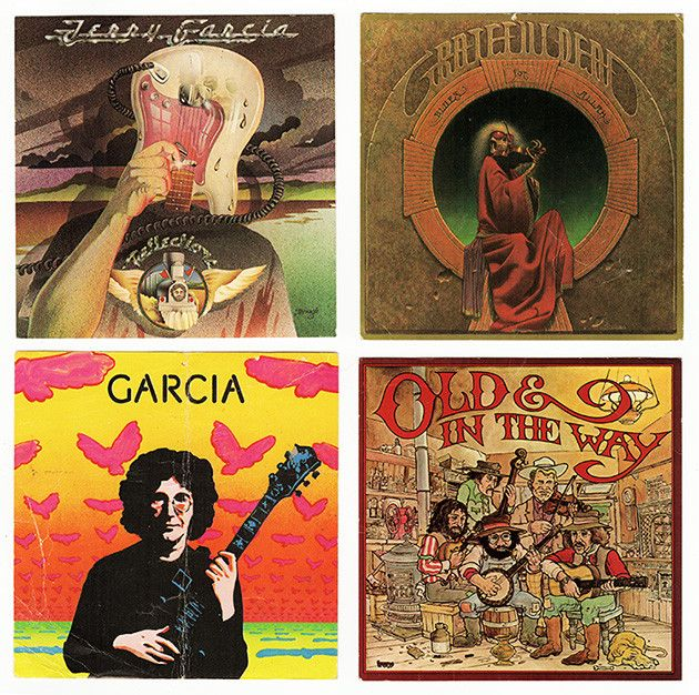 "Four Jerry Garcia Grateful Dead Album Cover Art Promo Cards - size: 5-1/4"" each. Includes Jerry Garcia, Garcia, Old & In The Way, and Blues For Allah."