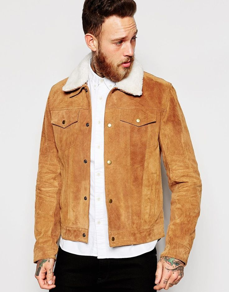ASOS+Suede+Western+Jacket+With+Faux+Shearling