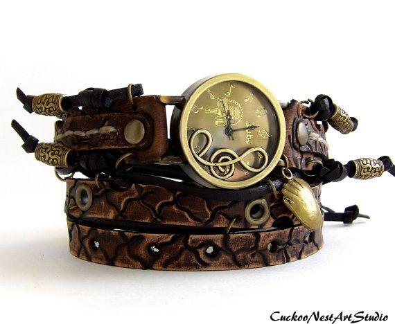 Musical note watch, Leather wrist watch, Hand #accessories #watch @EtsyMktgTool #watchbracelet #vintagewatch #wristwatch #braceletwatch