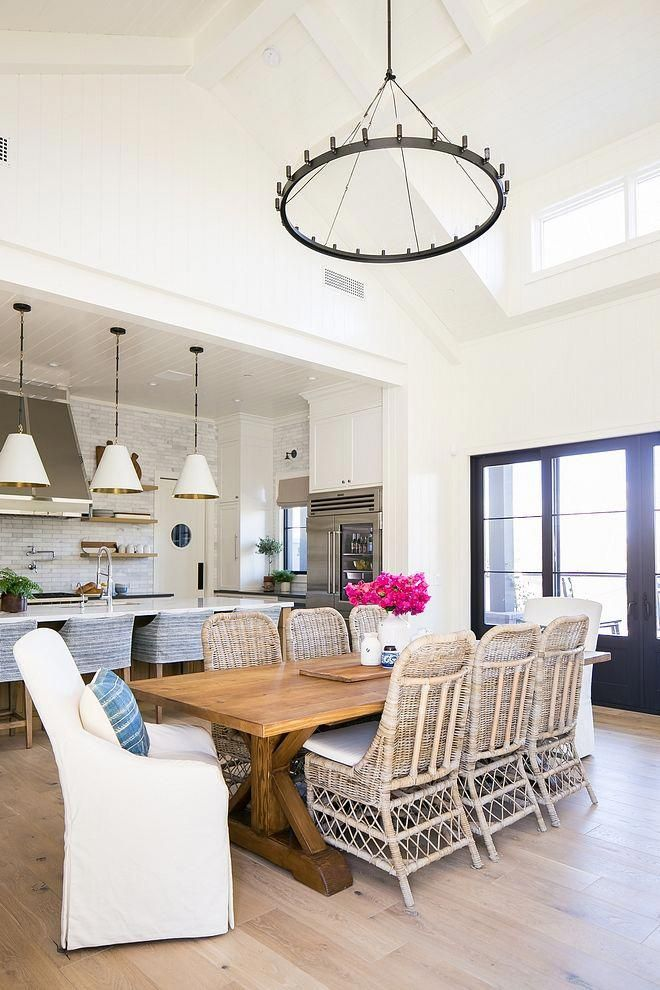 Casual Dining Room With High Vaulted Ceiling Painted Beams White