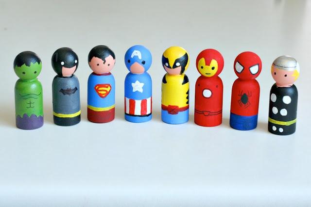 Superhero peg dollsPeg People, Superhero Peggy, Super Heros, Iron Man, Peggy Dolls, Superheroes, Christmas Stockings, Ironman, Super Heroes