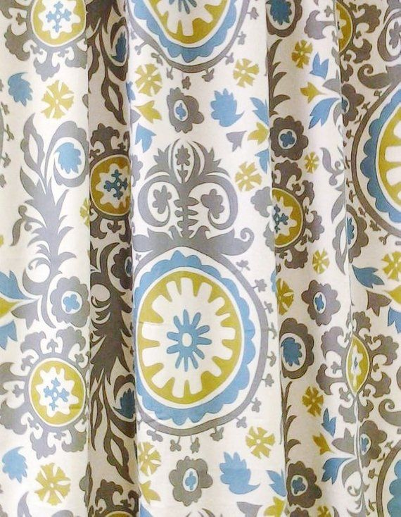 642127bc658 Gray Blue Yellow Curtain Panels Damask Floral Curtains Home Decor Gray Drapery  Window Treatments Dra