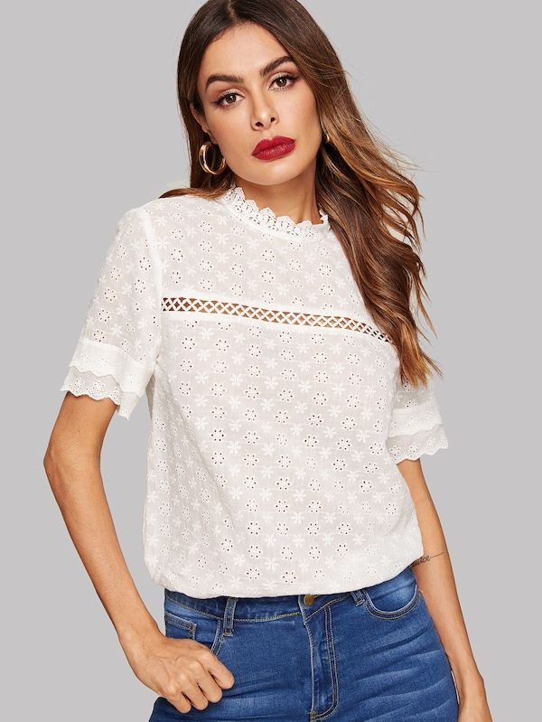 7d5e147446f Eyelet Embroidered Lace Insert Mock Neck Top   SHEIN   Fashion in ...
