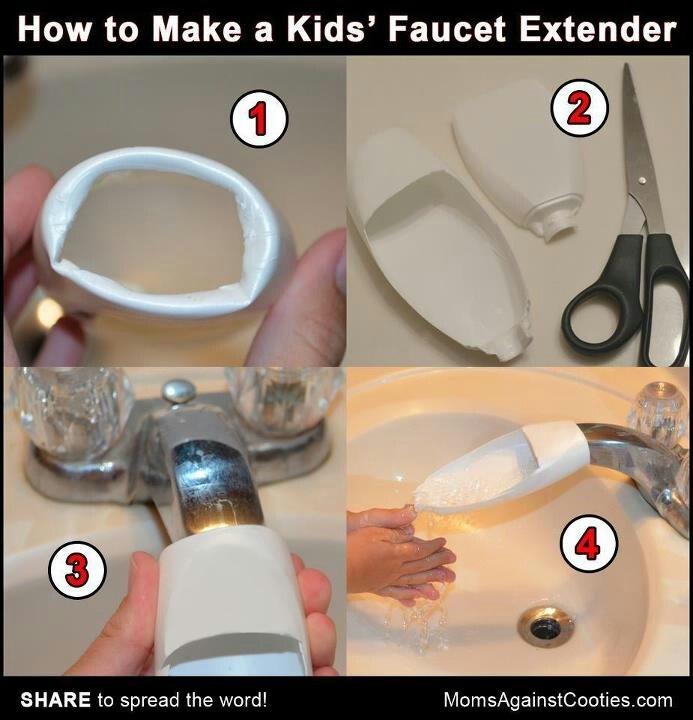 DIY kids' faucet extender