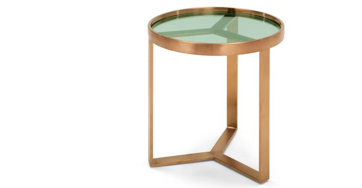 Aula Side Table, Brushed Copper and Green Glass