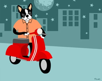 8x10 Print Boston Terrier Dog Red Vespa Moped Motor Scooter Cute Funny Pop Art