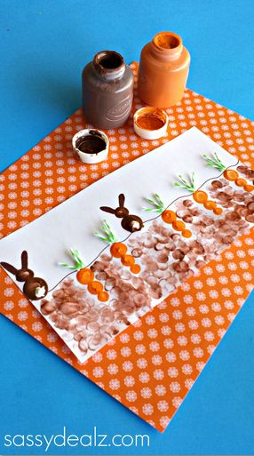 Fingerprint Carrot and Bunny Craft for Kids #Easter craft for kids to make! #art project | CraftyMorning.com