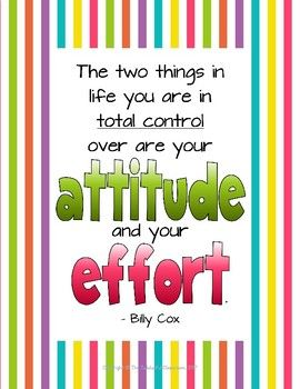 Attitude & Effort - Motivational Growth Mindset Poster