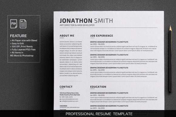Clean Resume - CV by deviserpark on @creativemarket