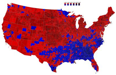 1952 election Results by county explicitly indicating the percentage for the winning candidate. Shades of red are for Eisenhower (Republican) and shades of blue are for Stevenson (Democratic).