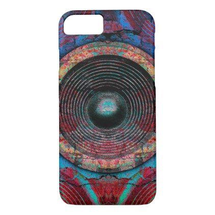 Red music speakers on a cracked wall iPhone 8/7 case - pattern sample design template diy cyo customize