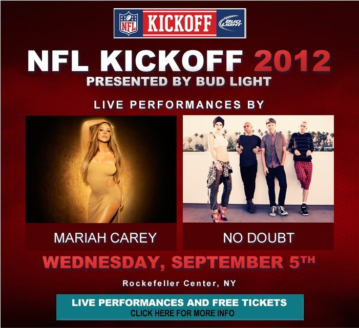 Free Mariah Carey and No Doubt concert at Rockefeller Center on Sep 5.