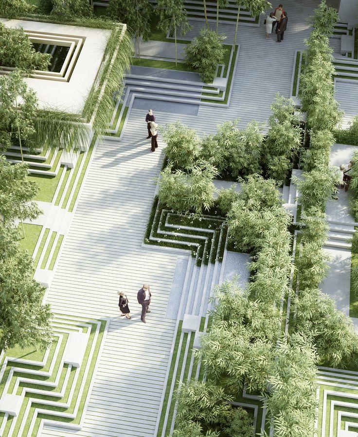 Penda cria projeto paisagístico inspirado em antigas escadarias indianas