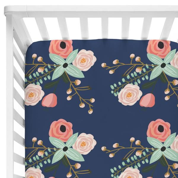 berkeley's blush and navy dark floral fitted crib sheet for a baby girl