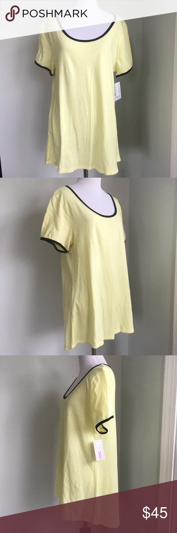 LuLaRoe Yellow and Black Classic T Top Size M Brand New with tags yellow Classic T from LuLaRoe.  Size M.  Black lined scoop neck.  Short sleeves. All over speckled textured fabric.  See close up pictures.  Solid yellow color LuLaRoe Top. LuLaRoe Tops