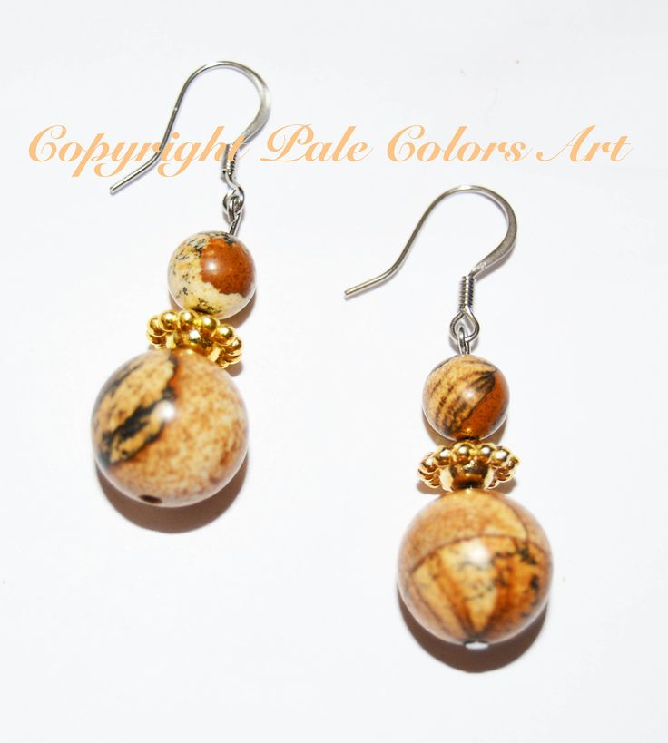 Picture Jasper Stone Earrings, Neutral Earrings, Stainless Steel Ear Wires, Hypoallergenic, Non-Tarnish, 1  Inch Earrings, Brides Maid Gift