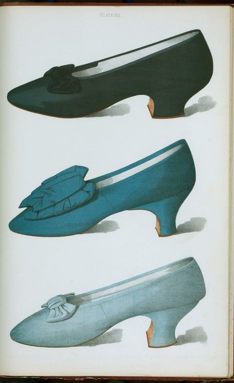 Ladies' Shoes of the Nineteenth Century, T. Watson   Grieg, published in 1900.  Deep rich purple satin shoe with bow, made by Meier of Paris; English shoe of bright blue silk; pale blue silk shoe.