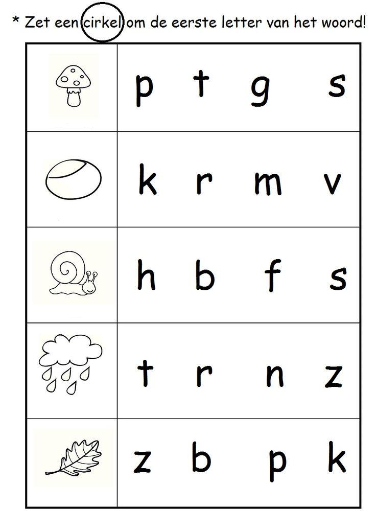 * Zet een cirkel om de eerste letter van het woord!