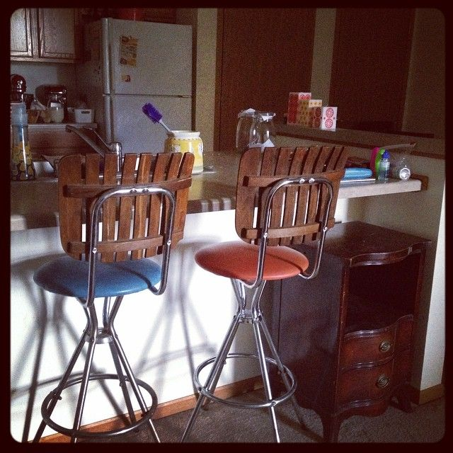 Bought these vintage stools for $5 each at the Oconomowoc, WI Goodwill. Found identical ones online for $150 each!