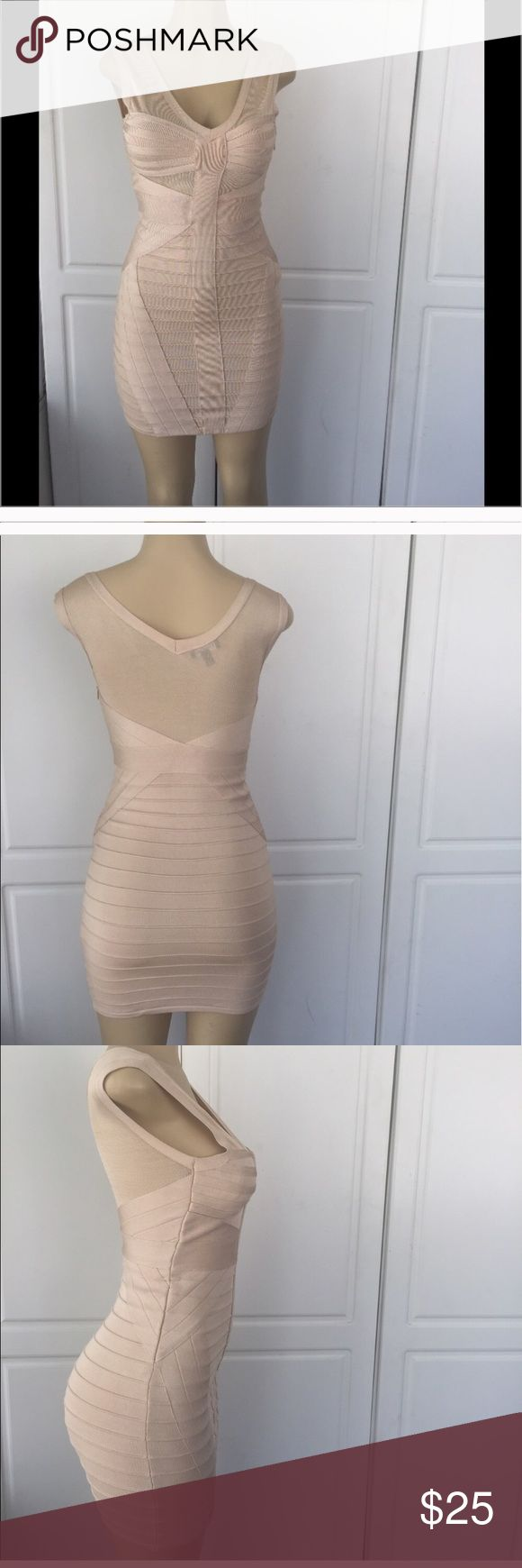 Bebe BANDAGE dress Nude dress, form fitting, spect ion occasion dress. Worn once , great condition. bebe Dresses Mini