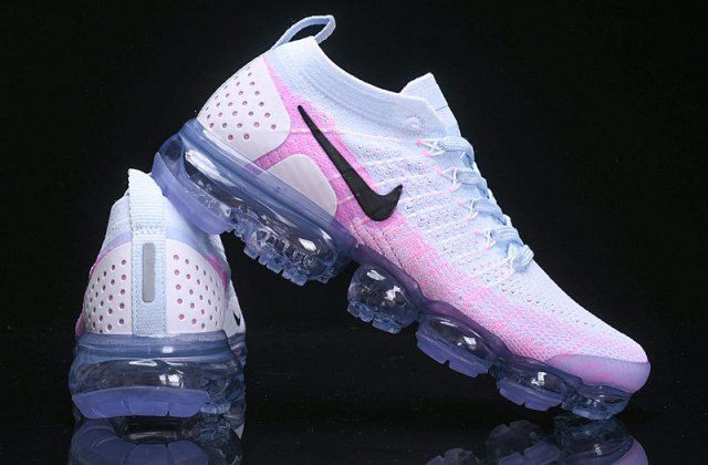 Beautiful Nike Air VaporMax Flyknit 2 White Hydrogen Blue Pink 942843 102 Womens Running Shoes Trainers 942843–102