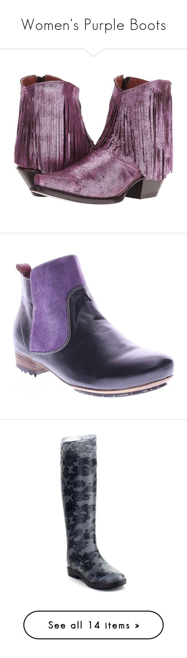 """Women's Purple Boots"" by eternalfeatherfilm on Polyvore featuring shoes, boots, mid-calf boots, mid calf boots, western cowgirl boots, fringe cowgirl boots, cowboy boots, western boots shoes, shearling-lined boots and purple leather boots"