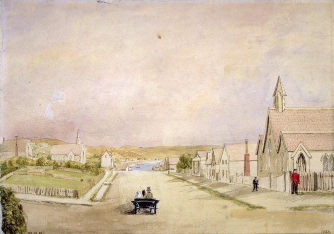 Holmes, William Howard 1825-1885 :[Willis Street, Wellington] 1863 / W H H