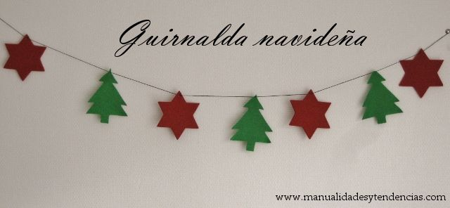 www.manualidadesytendencias.com Guirnalda navideña / Christmas garland #manualidades #Navidad #Christmascrafts