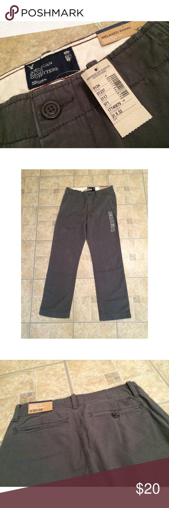 American Eagle Khaki Pants for Men BRAND NEW WITH TAGS!! American Eagle, Relaxed fit khaki pant for men. Dark gray color size 31 X 32. American Eagle Outfitters Pants Chinos & Khakis