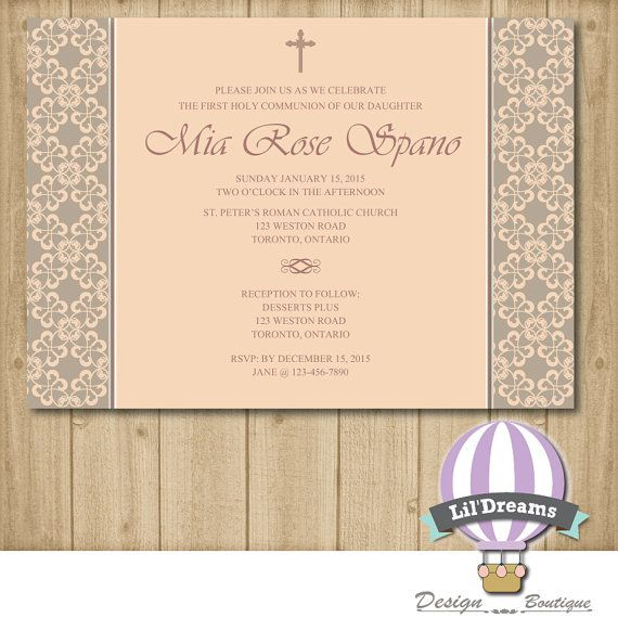Communion Invitation girl christening First by LilDreamsDesign