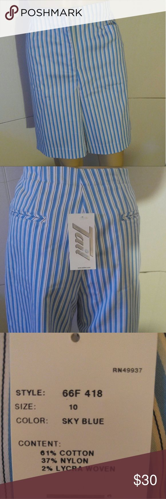 """Tail Women's Blue Shorts Size 10 Golf Blue and white stripes size 10 waist 36, 19.25 long, 8.5"""" inseam,  11"""" rise Tail Shorts"""