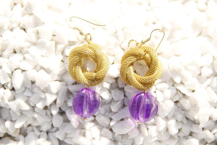 Gold mesh with purple earring