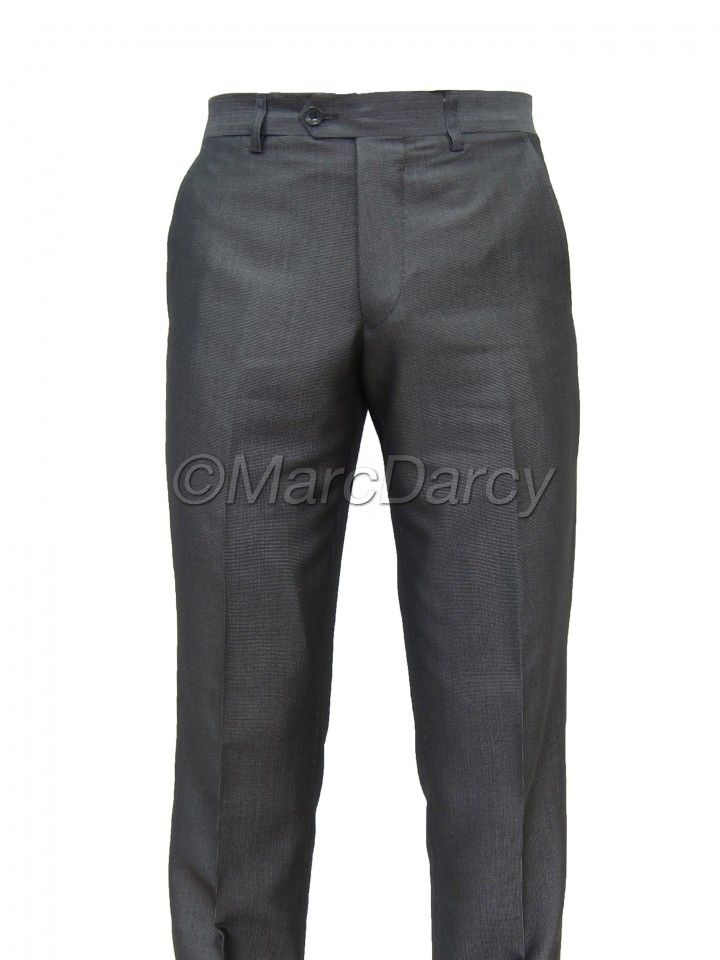 Mens Grey flat fronted Regular Fit Trousers