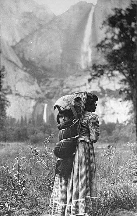 One of the most famous photos of Native people in Yosemite is this photograph taken by J. T. Boysen in 1901. Susie and daughter Sadie McGowan.