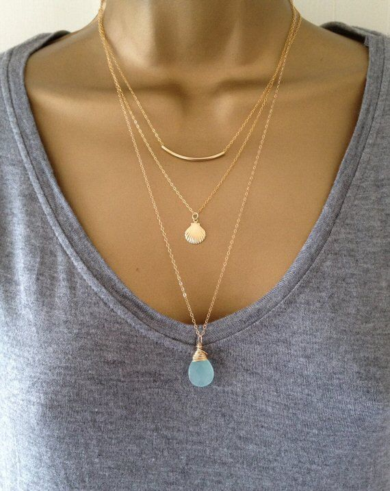 3 Gold Layering Necklaces UK Shop by PABJewellery on Etsy
