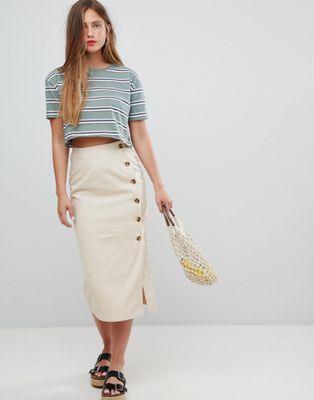 e97a793245761 DESIGN denim wrap midi skirt with tortoiseshell buttons in 2019 ...