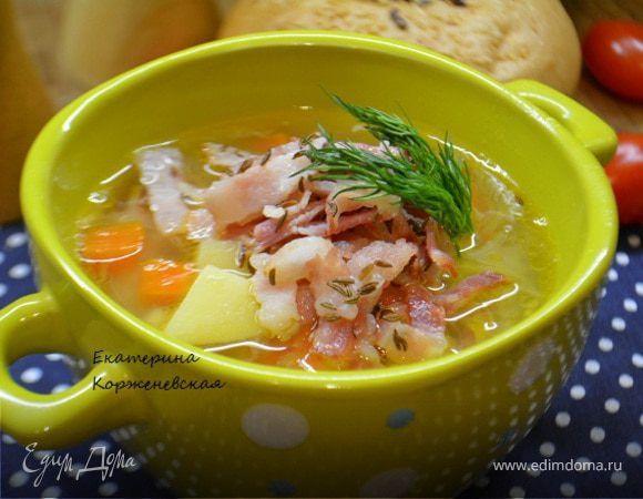 Картофельный суп с беконом и тмином