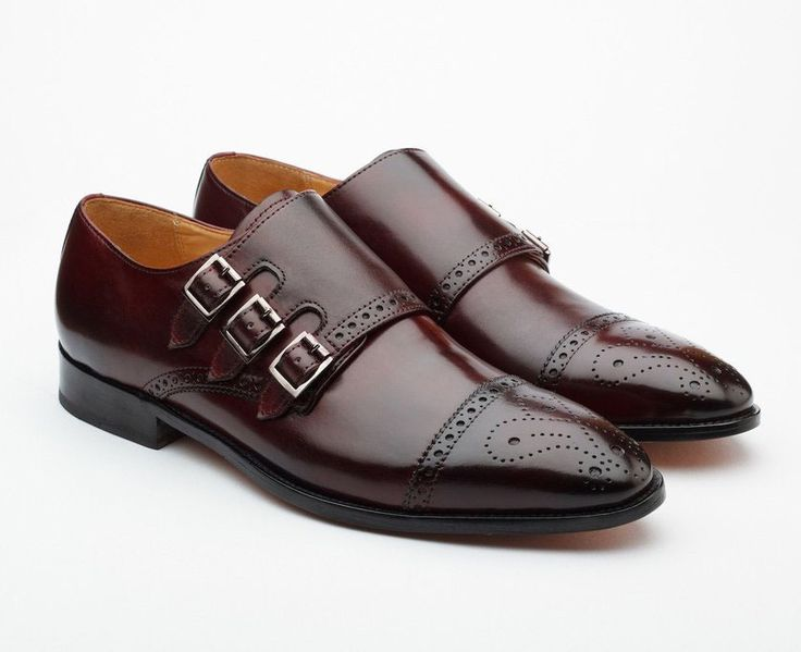 Monk Triple Straps Monk Burgundy Brogue Leather Shoes Hand Crafted Dress Shoes - Dress/Formal