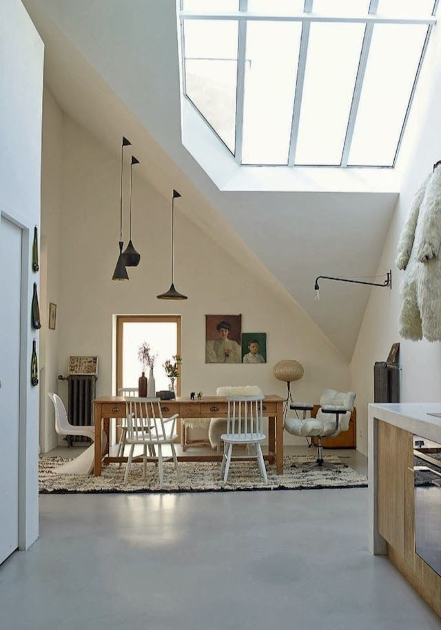 Love the sky light and openness that it creates  House Tour | A converted factory in Nantes, France