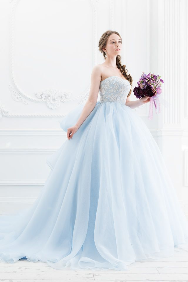 ふんわりブルーのカラードレス。エアリーなリボンが人気|SS5514LB