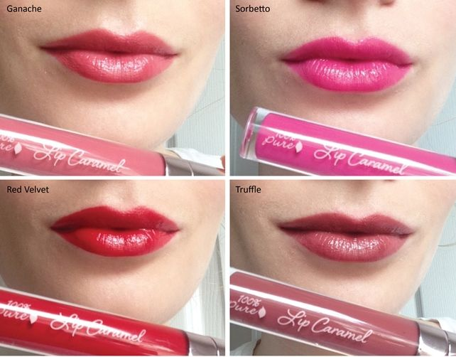100 Percent Pure Lip Caramel Swatches on lips