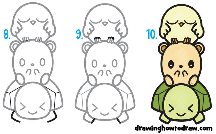 how to draw a cute baby turtle step by step