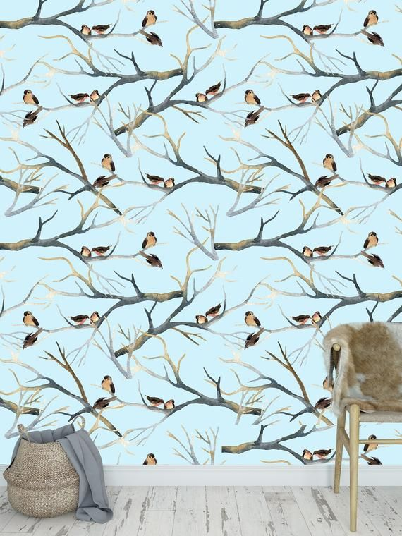 Removable Peel And Stick Wallpaper Watercolor Bird Pattern Etsy Peel And Stick Wallpaper Wallpaper Vinyl Wallpaper