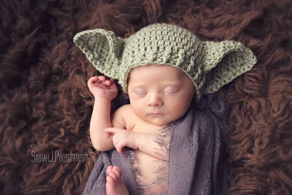 POPULAR Star Wars Baby Yoda Hat Newborn 0 3m 6m Crochet Photo Prop Baby Clothes Boys Girls Gender Neutral Daddys Fathers Gift So Cute