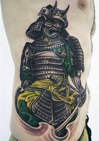 Man Side Rib Samurai Warrior Tattoo